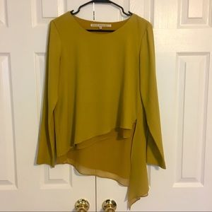 Rachel Roy Mustard Asymmetrical Long Sleeve Blouse